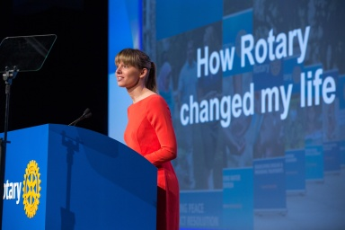 2010-12 Rotary Peace Fellow Anne Kjaer Reichert speaks at general session 5 of the International Assembly, 18 January 2017, San Diego, California, USA.